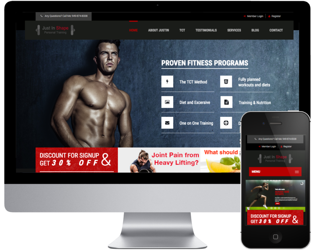 SpringSEO Client - Just In Shape Fitness Website Preview